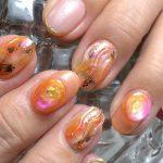 秋色オレンジ&ミラーネイル ~ジェルネイル~